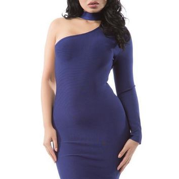 Choker One Sleeve Bandage Dress