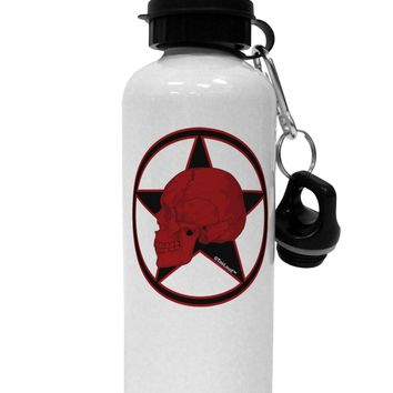 Blood Red Skull Aluminum 600ml Water Bottle by TooLoud