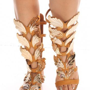 TAN FAUX NUBUCK LEATHER WINGED GLADIATOR SANDAL