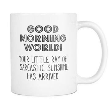 Good Morning World Coffee Mug, 11 Ounce