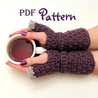 PDF CROCHET PATTERN for Easy Elegance Crochet Fingerless Gloves, Digital Download, Lots of Photos