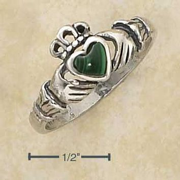 Sterling Silver Ring:  Small Antiqued Claddagh Ring With Reconstituted Malachite Heart