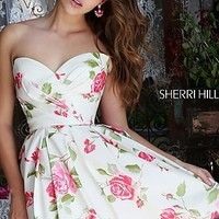 Ruched Floral Print A-Line Dress by Sherri Hill