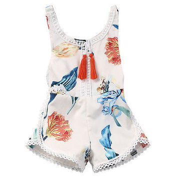Cotton Newborn Kids Baby Girl Sleveless Lace Romper Lily print Jumpsuit Sunsuit