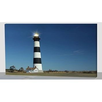 """LED Lighted Black and White Striped Lighthouse with Ombre Blue Sky Canvas Wall Art 15.75"""" x 11.75"""""""