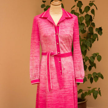 Vintage dress, Ombre, Pink, 1970's, Strauss Modell, Bright Pink, Ombre, Size 38, US 8