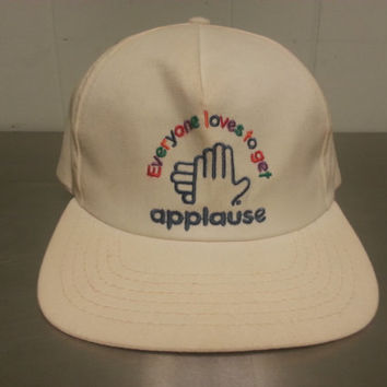"Rare Vintage 80's Everyone Loves To Get ""Applause"" Toy Company Snapback Hat Made In USA Clapping Hand"
