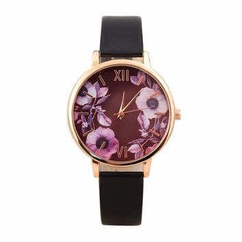 Elegant Watch Women PU Leather Wristwatch For Women Floral Clock Woman Quartz Watch Reloj mujer Montre Female #824