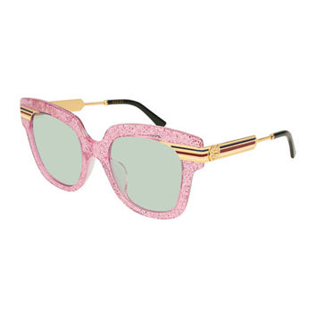 Gucci Metal & Glittered Acetate Square Sylvie Web Sunglasses, Pink