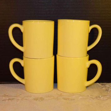 USA Pottery Yellow Coffee Cups Set of 4 Vintage Yellow Pottery Mug Set Marked USA 2 Sets Available Hot Tea Cups Cocoa Mugs Farmhouse Kitchen