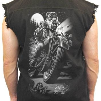 Men's Sleeveless Denim Shirt Biker Bulldog Cats Suck Biker