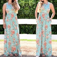 Light Green Floral Print Pockets Sleeveless High Waisted Sweet Maxi Dress
