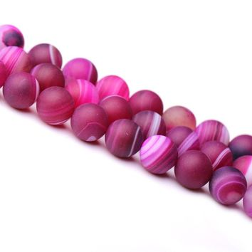 "Natural Stone Rose Red Frosted Stripe Agate Round Loose Beads For Jewelry Making 15.5"" Pick Size 6/8/10/12mm"