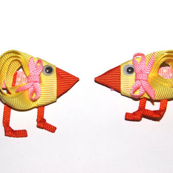 Easter hair clip Chick hair clip Easter hair accessories for girls Ribbon sculpture hair clip Baby chick hair clip Toddler hair clip