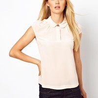 Ted Baker | Ted Baker Woven Top with Peter Pan Collar at ASOS