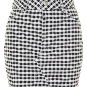 MOTO Gingham Mini Skirt
