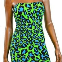 Neon Green & Blue Leopard Print Strapless Dress