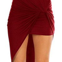 Womens Asymmetrical Draped Wrap Cut Out Hi Low Midi Skirt