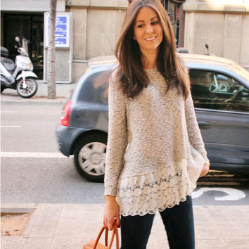 Lace Trim Pure Color Loose Knit Sweater