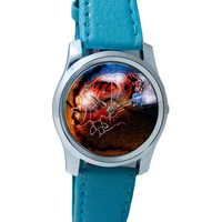 Fiery Airplane Crash Wrist Watch