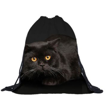 Black Cat Drawstring Bags Cinch String Backpack Funny Funky Cute Novelty