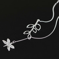 Clearance Sale Nature Scene Cute Dragonfly Leaves Design Charm Pendant Necklace Genuine 925 Sterling Silver Hand Made Jewelry