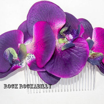 Rock Rockabilly Purple Orchid Pin Up Bridal  hair flower comb fascinator