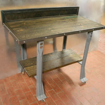 WORK BENCH/TABLE: Made to Order of Recycled Steel and ReClaimed Bowling Alley