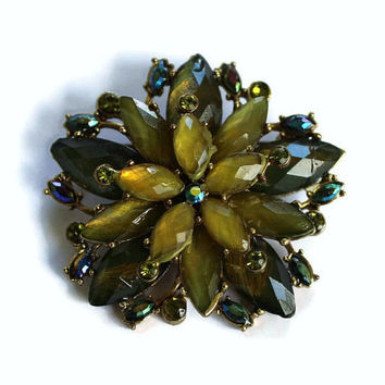 Flower Brooch In Green and Iridescent Blue Rhinestones , Scarf Pin