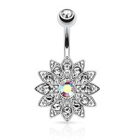 CZ Flower Belly Button Ring Aurora Jeweled