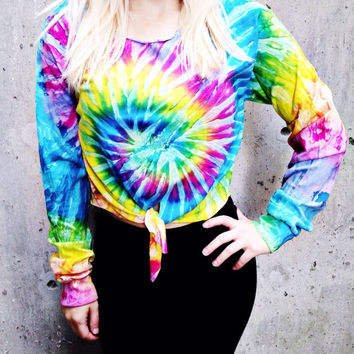 Tie Dye Long Sleeve T-shirt Women's Clothing Tumblr Fashion Tie Dyed Crop Top Bright Tied Tee