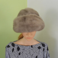 Faux Fur Babushka Grey Woman's Hat - Gray Cloche Hat by Mr.Laurence - 1950s - Free US Shipping