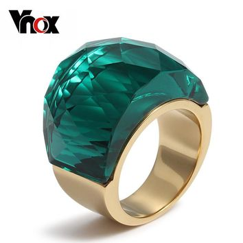 Vnox Big Stone Rings for Women Unique Gold-color Stainless Steel Party Cocktail Female Jewelry Rock