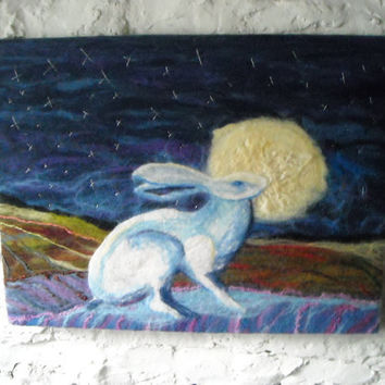 hare and moon, original felt wall art,hare and moon, hand embroidery, Bathed in moonlight