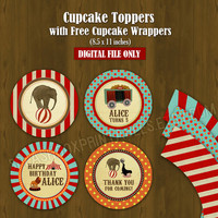 Circus Cupcake toppers with Free Cupcake Wrapper - Vintage Circus Party Circles Cupcake Toppers for Birthday or Baby Shower