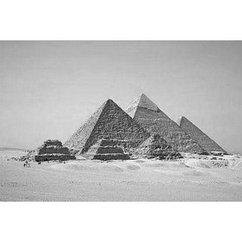 Pyramids poster Metal Sign Wall Art 8in x 12in Black and White