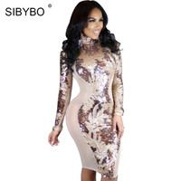 Spring Dress 2017 Women Long Sleeve Rose Gold Sequin dress Mesh Patchwork See Through Sexy Club Bodycon Party Dresses Vestidos
