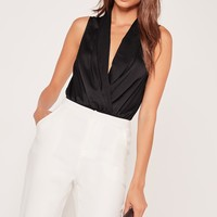 Missguided - Plunge Wrap Over Bodysuit Black