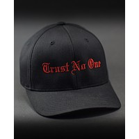 Trust No One Structured Curved Bill Flexfit Hat - Black with Red Stitching