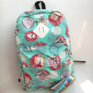 Ms unisex casual canvas backpack backpack bag bag students Green print