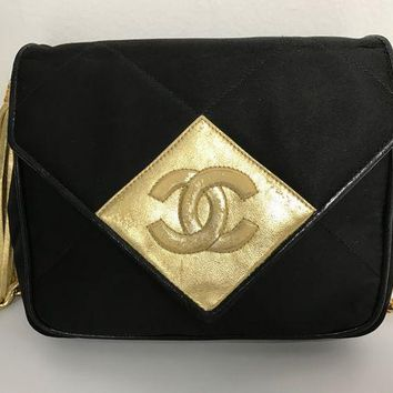 DCCKG2C Chanel Satin Black and Gold Tassel Evening Bag
