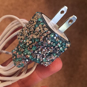Turquoise gemstone iphone 5/6 charger