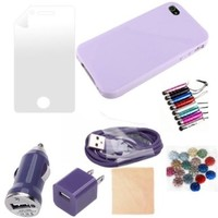 (TRAIT) 4in1 Light Purple Soft Case Protector Skin for iphone 4 4G 4S Cases And Covers + Screen Protector for iphone4 + Cleaning Cloth +Touch Screen Pen