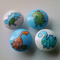 Hand Painted Dinosaur Drawer Pulls / Dresser Knobs for Boys, Girls, Kids and Nursery Rooms