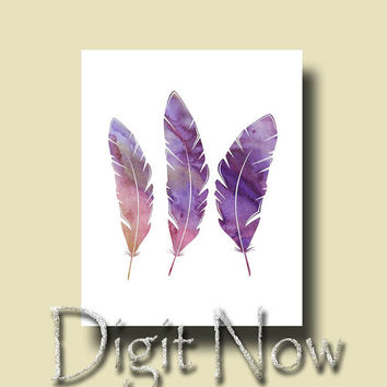 ON SALE Lavender Feather Art Printable Instant Download Wall Decor W14083-4
