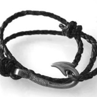 Fish Hook Bracelet Braided Black Leather by vertini on Etsy