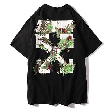 Off White Summer Fashion New Bust Letter Print And Back Leaf Butterfly Cross Print Women Men Top T-Shirt Black