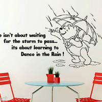 Life isnt about waiting Winnie the Pooh inspirational Wall Sticker vinyl Decal