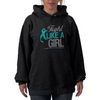 Fight Like A Girl Ovarian Cancer Awareness Hoodies from Zazzle.com