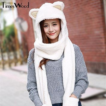 New Women Cat Ear Cute Hats Sets With Scarf Glove Warm Cotton Winter Caps Kawaii Lovely Style Headwear Girlfriend Gift